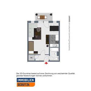 2D-Grundriss - gewisse Abweichungen können vorkommen - 1-Zimmer-Wohnung mit sonnigem Westbalkon