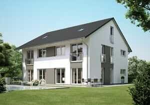 Doppelhaushälfte DDH Vaterstetten Ansicht mit zweifarbiger Fassade
