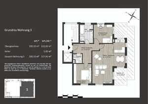 Grundriss - Erstbezug - Exklusive 3-Zi. Architektenwohnung