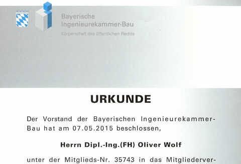 Oliver Wolf Mitglied Bayerische Ingenieurekammer Bau